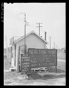 """Real estate office near Detroit, Michigan, August 1941."" Photograph by John Vachon. Library of Congress, LC-USF34-063715-D (b&w film neg.)."
